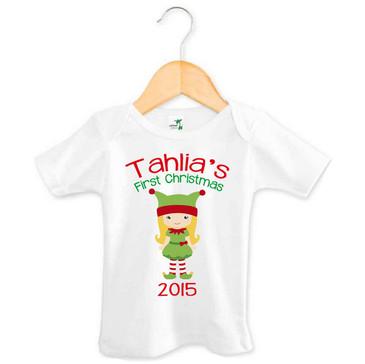 Personalised Christmas Elf Baby Tee 2015