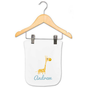 Personalised Boy's Giraffe Baby Burp Cloth