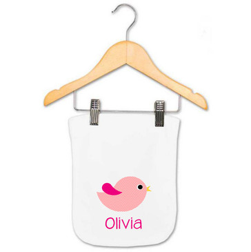 Personalised Girl's Pink Chevron Bird Burp Cloth