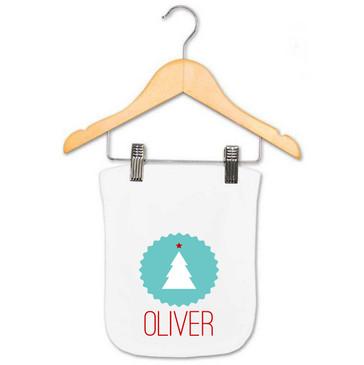 Personalised Name Christmas Tree Burp Cloth