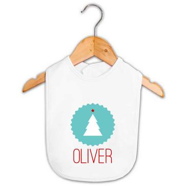 Baby Name Christmas Antlers Bib Personalised Baby