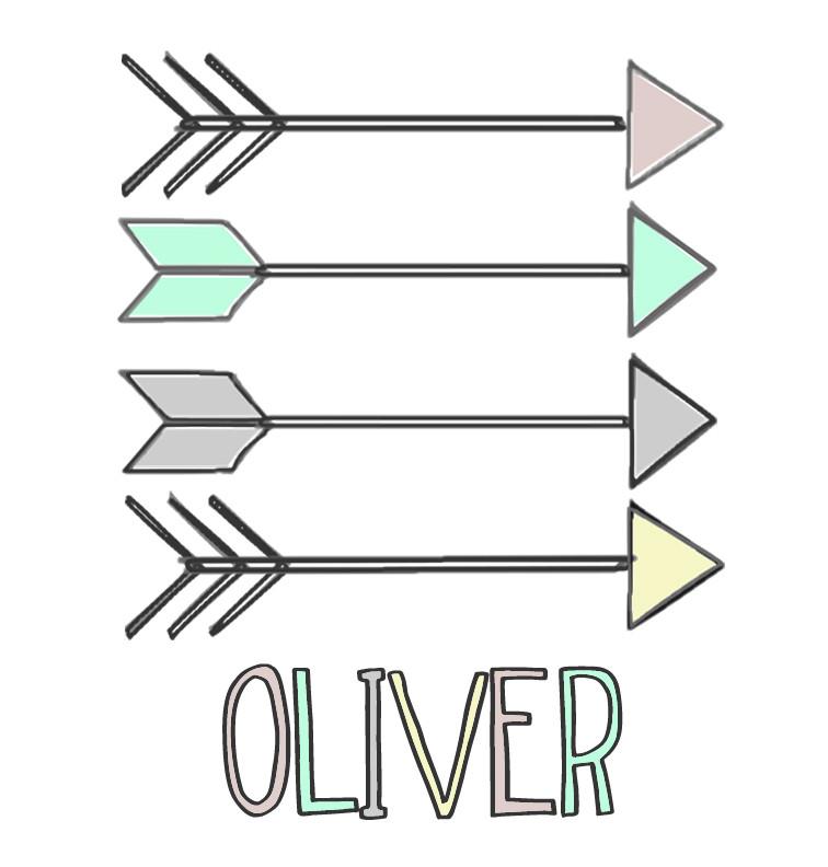 Pastel Aztec Arrows Baby Name Onesie - Oliver