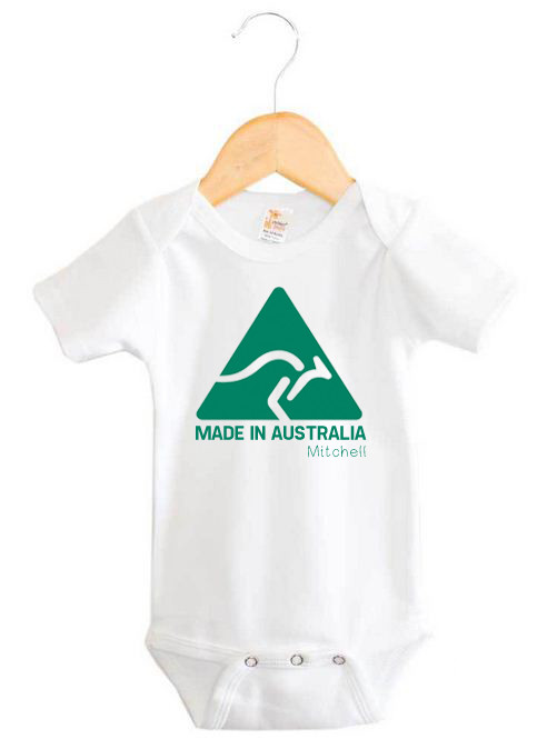 Personalised Made In Australia Onesie Baby Name Products