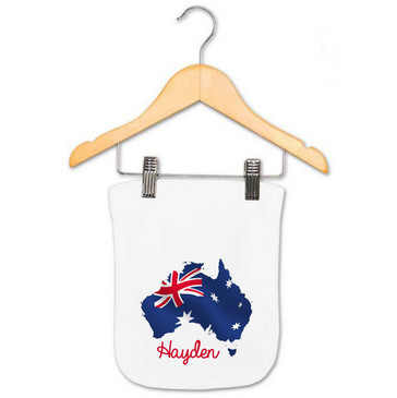 Personalised Australia Flag Burp Cloth