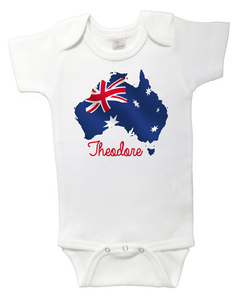 Personalised Australian Flag Onesie Baby Name Products