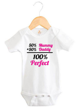 Baby Girl 100% Perfect Short Sleeve Onesie