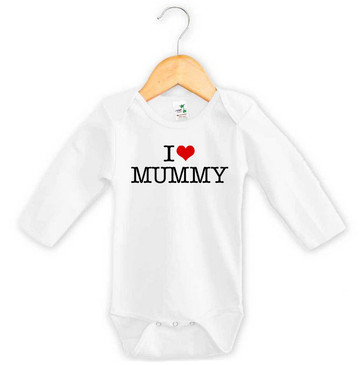 I Heart Mummy Baby Long Sleeve Onesie