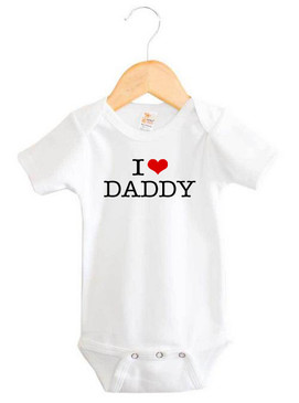 I Heart Daddy Baby Short Sleeve Onesie