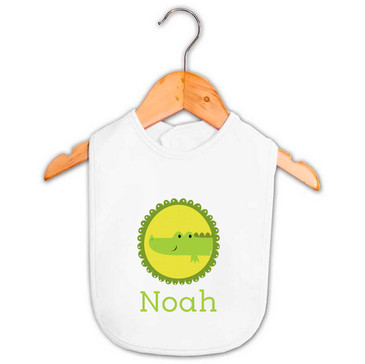 Personalised baby name crocodile bib