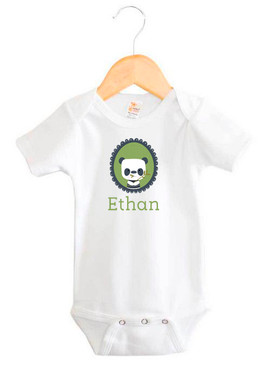 Personalised baby name panda onesie