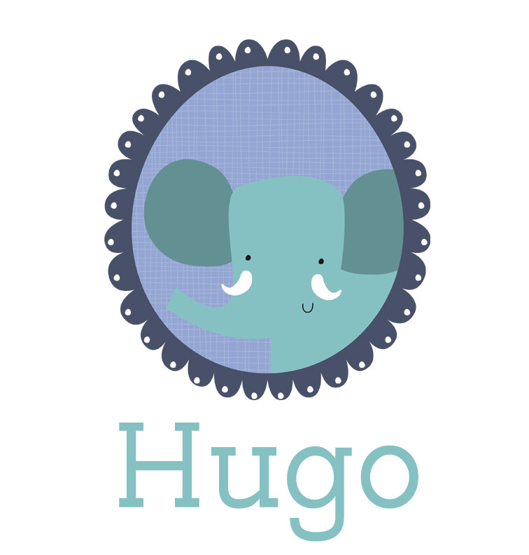 Personalised baby name elephant bib - Hugo