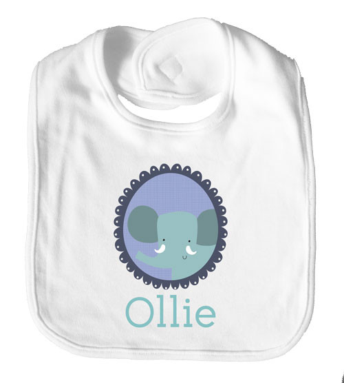 Personalised baby name elephant bib