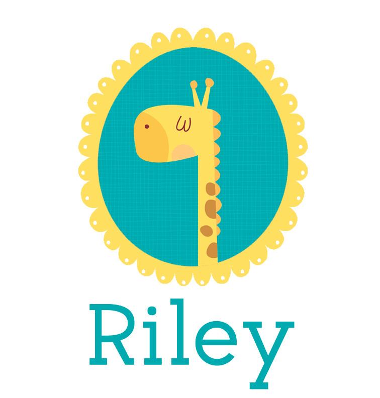 Personalised baby name giraffe onesie - Riley