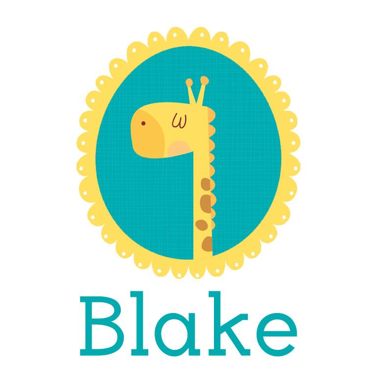 Personalised baby name giraffe onesie - Blake