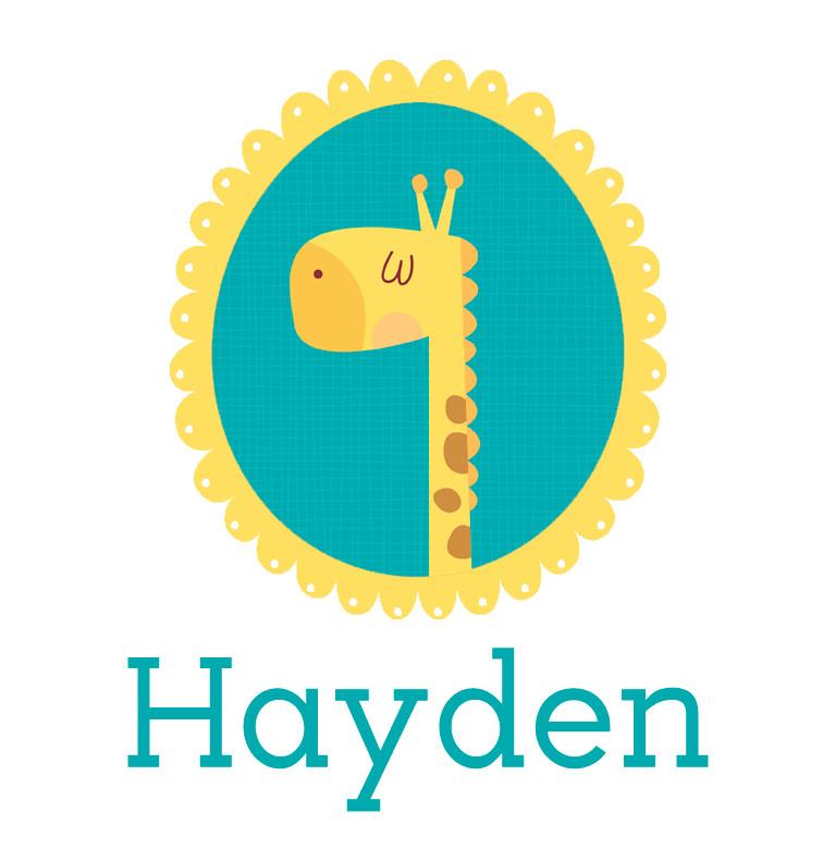 Personalised baby name giraffe onesie - Hayden
