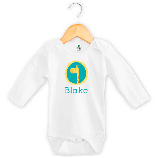 Personalised baby name giraffe onesie