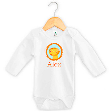 Personalised baby name lion onesie