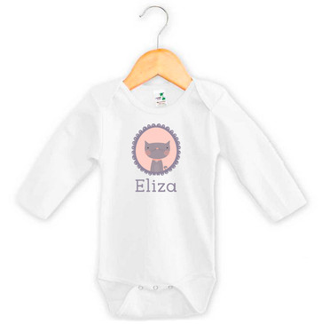Personalised baby name cat onesie
