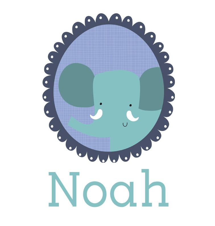 Personalised baby name elephant onesie - Noah