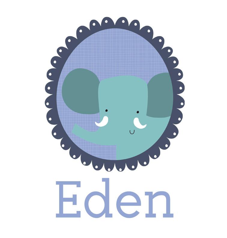 Personalised baby name elephant onesie - Eden