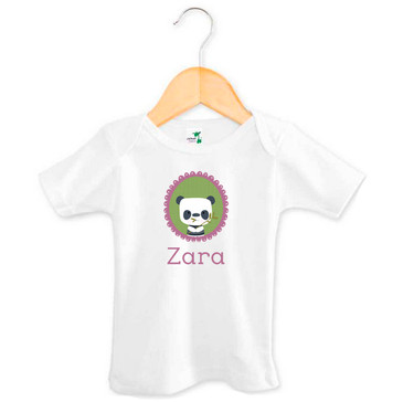 Personalised baby name panda t-shirt