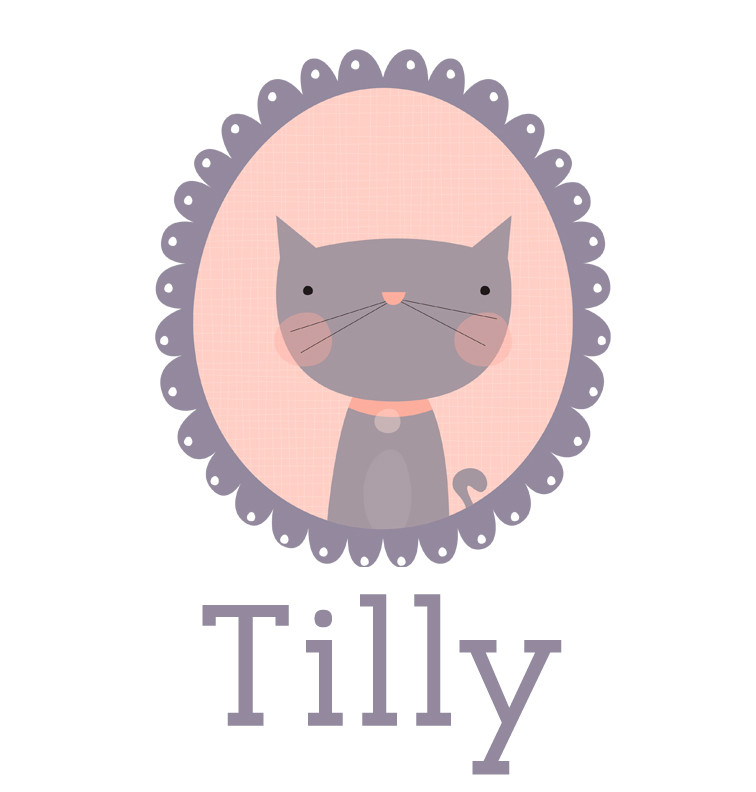 Personalised baby name cat t-shirt - Tilly