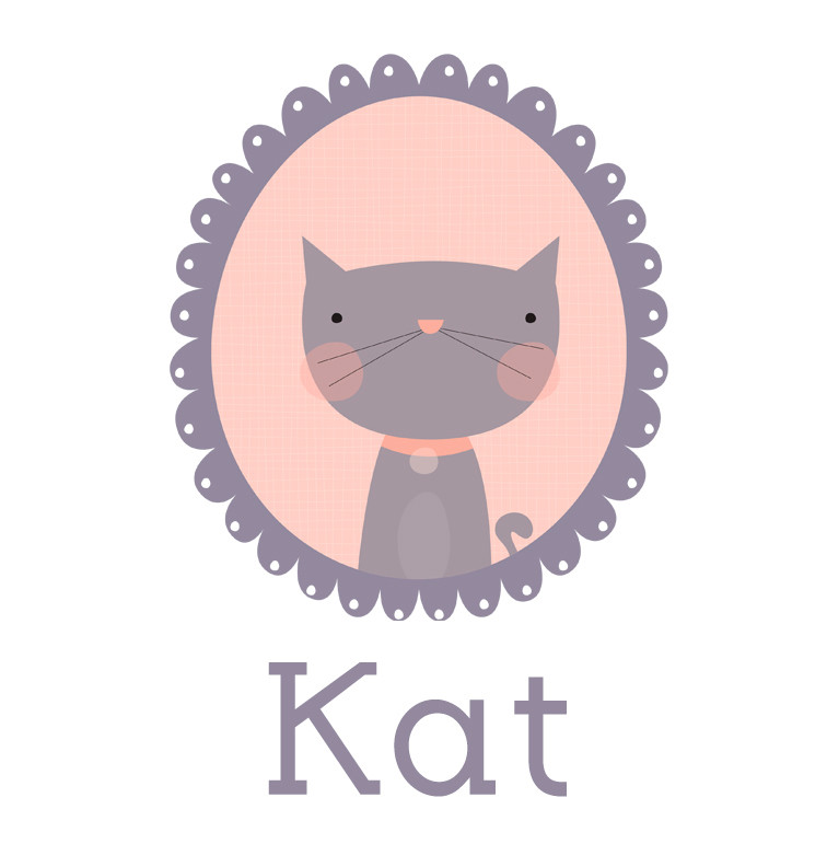 Personalised baby name cat t-shirt - Kat