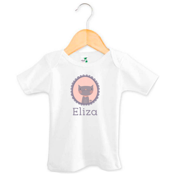 Personalised baby name cat t-shirt