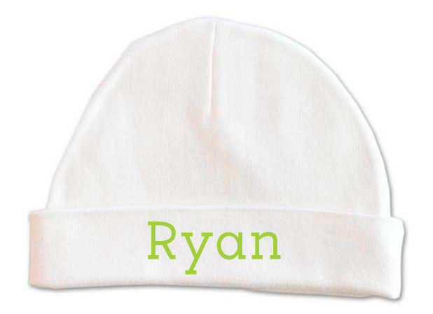 50a09aac375 Personalised baby name beanie - green