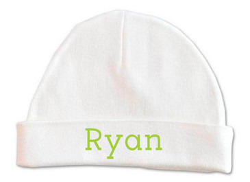 Personalised baby name beanie - green