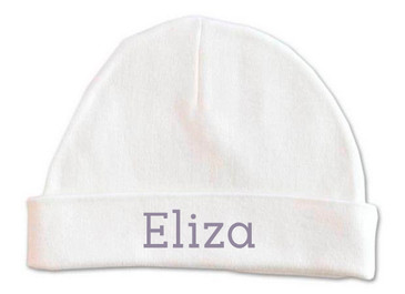 Personalised baby name beanie - purple grey