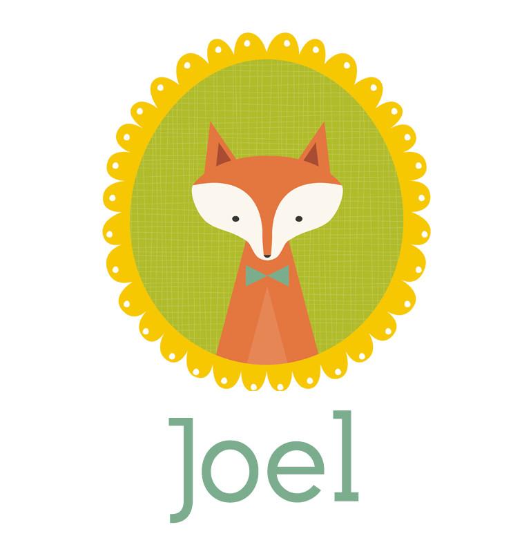 Personalised baby name woodland fox onesie - Joel