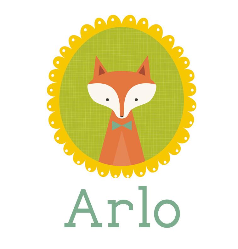 Personalised baby name woodland fox onesie - Arlo