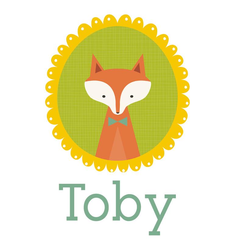 Personalised baby name woodland fox onesie - Toby