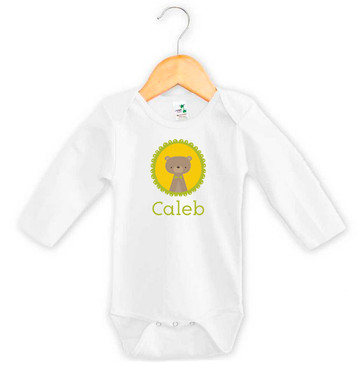 Personalised baby name woodland bear onesie