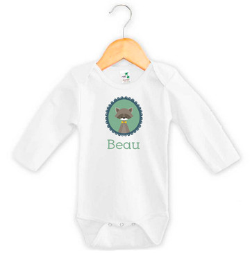 Personalised baby name woodland badger onesie