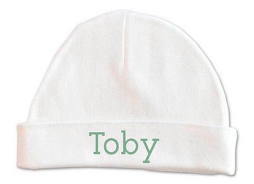 Personalised baby beanie with green baby name