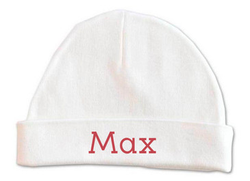 Personalised baby name beanie with rust red font