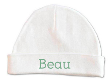 Personalised baby name beanie with green font