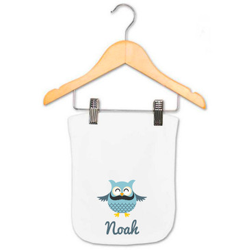 Personalised Baby Name Moustache Owl Burp Cloth