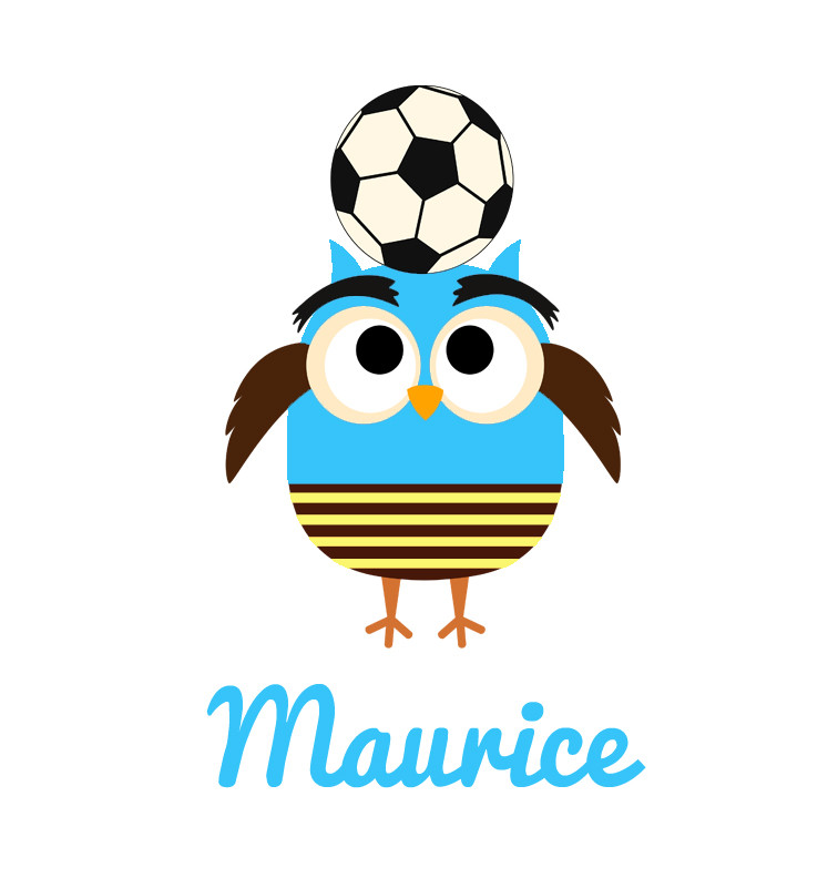 Soccer owl toddler name tee - Maurice