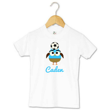 Soccer owl toddler name tee - Caden
