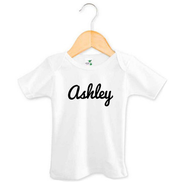 Black cursive baby name t-shirt - Ashley