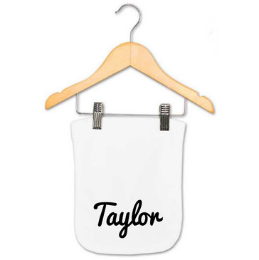 Personalised black cursive name burp cloth - Taylor