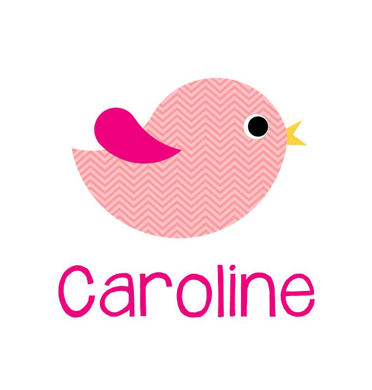 Personalised pink chevron bird blanket - Caroline
