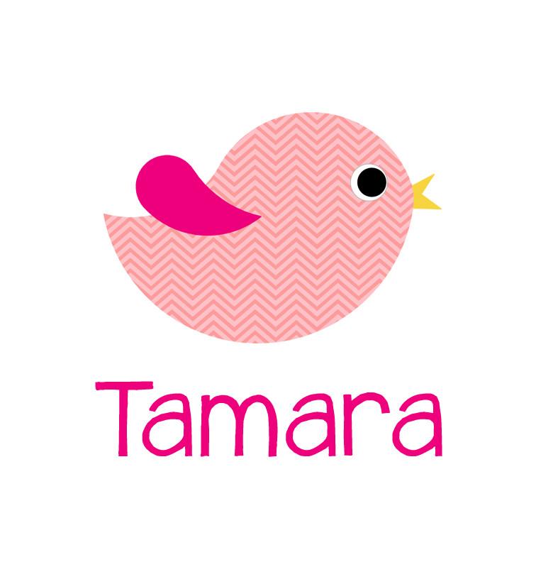 Personalised pink chevron bird blanket - Tamara