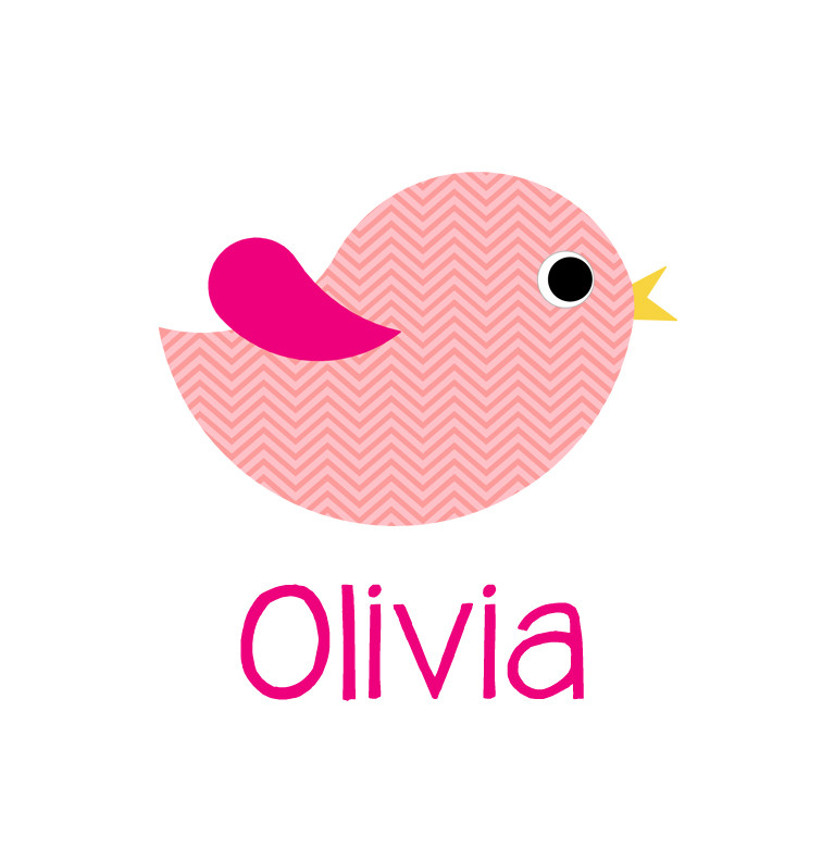 Personalised pink chevron bird blanket - Olivia