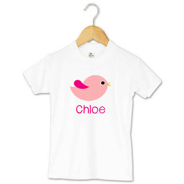 Pink chevron bird personalised toddler t-shirt - Chloe