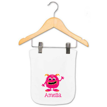 Pink and yellow monster personalised baby gift - Amelia