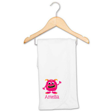 Pink monster personalised blanket - Amelia